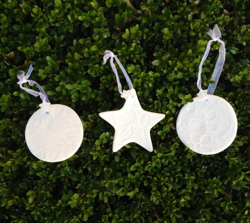 white porcelain tree ornaments