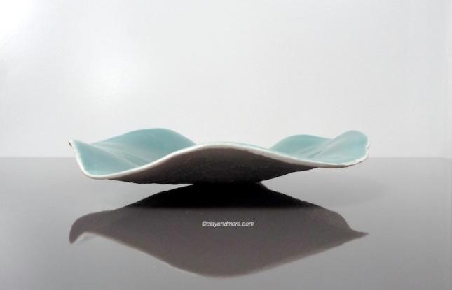 teal porcelain laced bowl / dish
