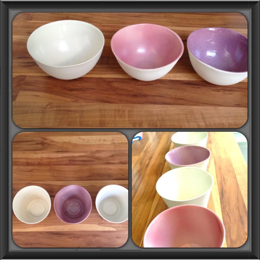 porcelain cups with purple glaze