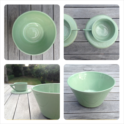 pottery set mint green ceramic