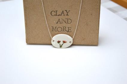 handgemaakte ketting porselein bloem roos juwelen clayandmore
