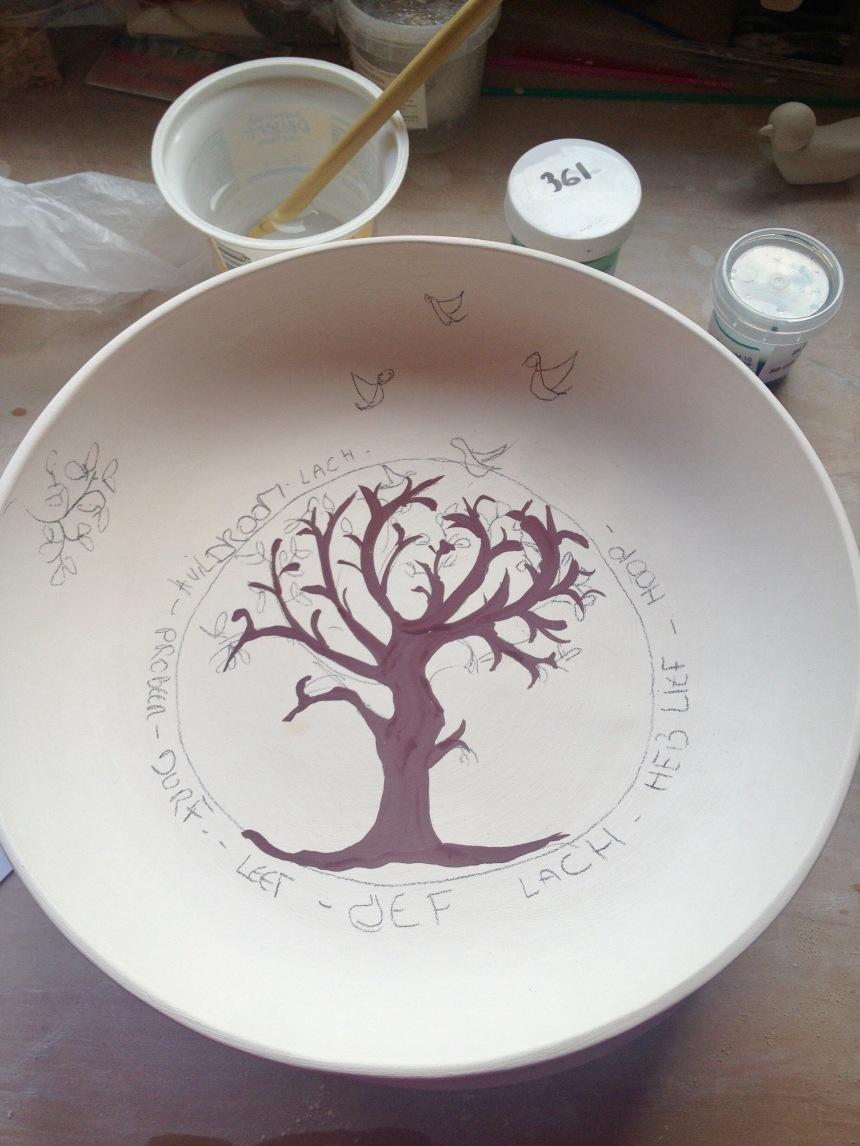 schilderen op een handgemaakt gepersonaliseerd keramiek bord met een wensboom als kraamcadeau of geboortegeschenk. Personalised plate as gift for newborn.